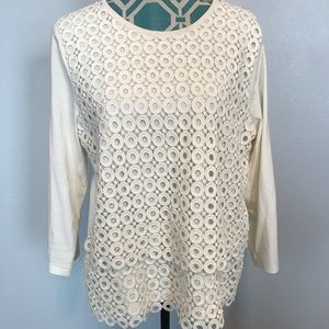 J Crew Circle Lace Top Sz XL CREAM crochet